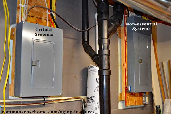 Two panel electric system allows one panel to run critical systems from emergency power.