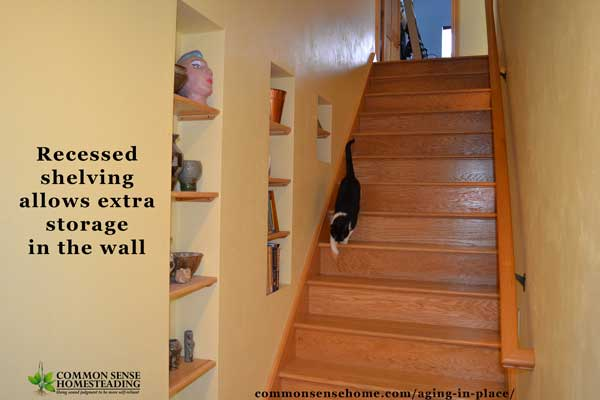 Recessed shelving allows for extra storage in the wall.