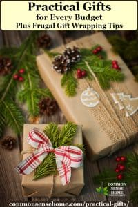 Practical gifts in brown paper wrapping with natural trimmings