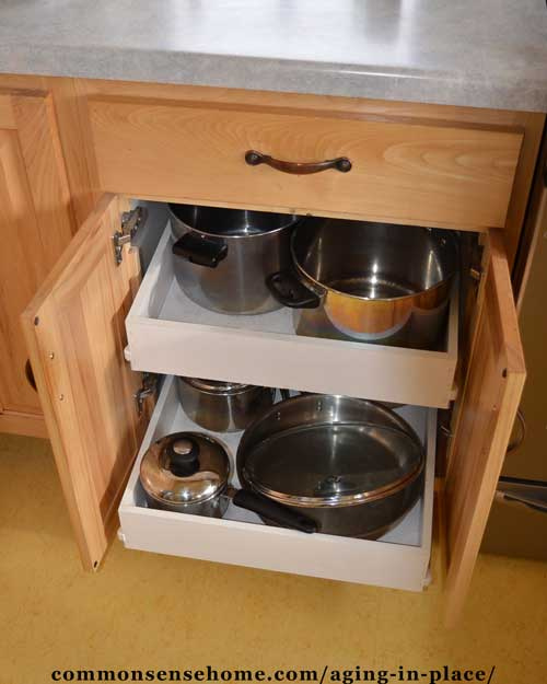 Roll out kitchen shelving makes it easier to access items in the back of cabinets.