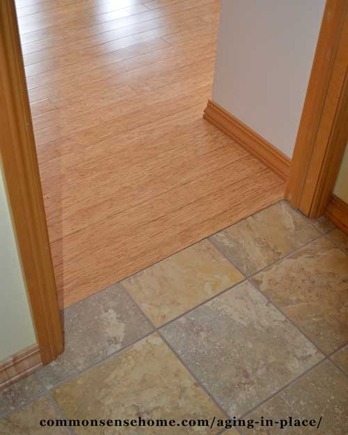 A zero clearance threshold with hard floors reduces tripping hazards.