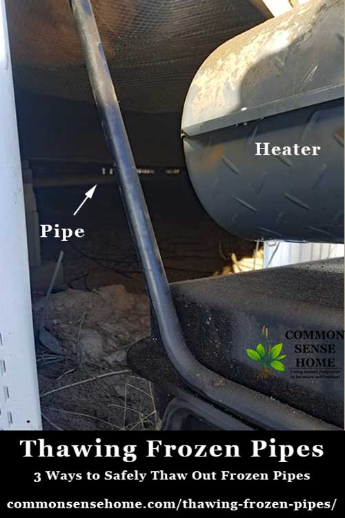 3 options for thawing frozen pipes safely, plus tips for frozen drain pipes, emergency repairs and avoiding frozen pipes. #homerepair #frozenpipes #winterpreps