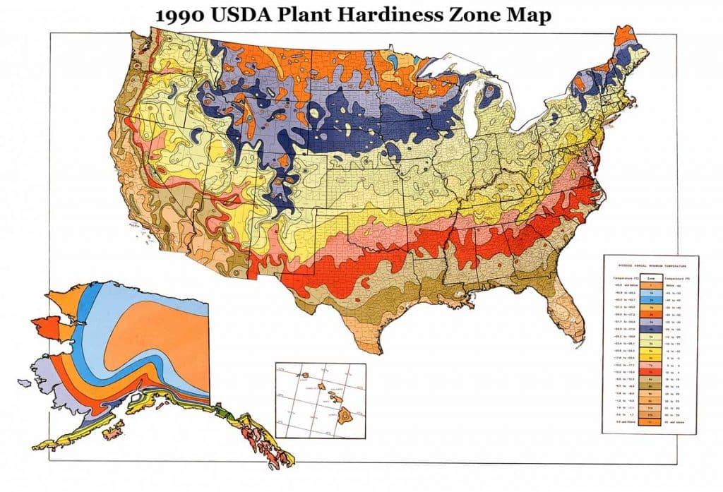 1990 USDA Hardiness Zones Map