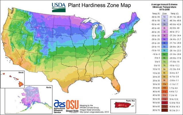 2012 USDA Hardiness Zones Map