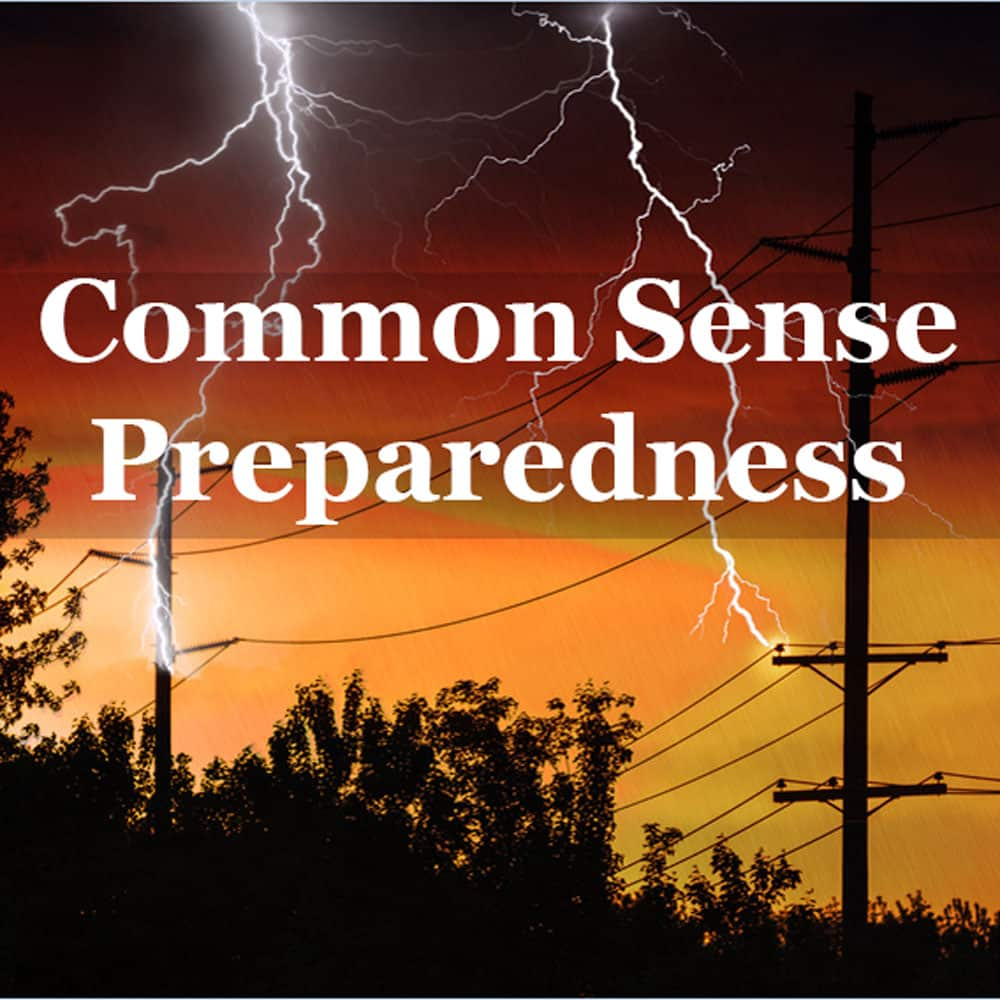Common Sense Preparedness white text against orange storm sky, lightening and power lines