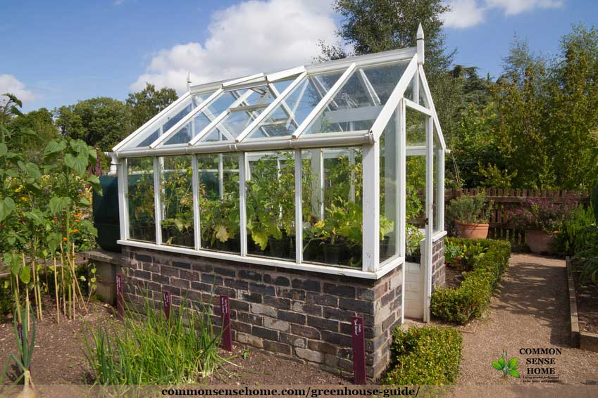 small glass greenhouse with brick kneewall