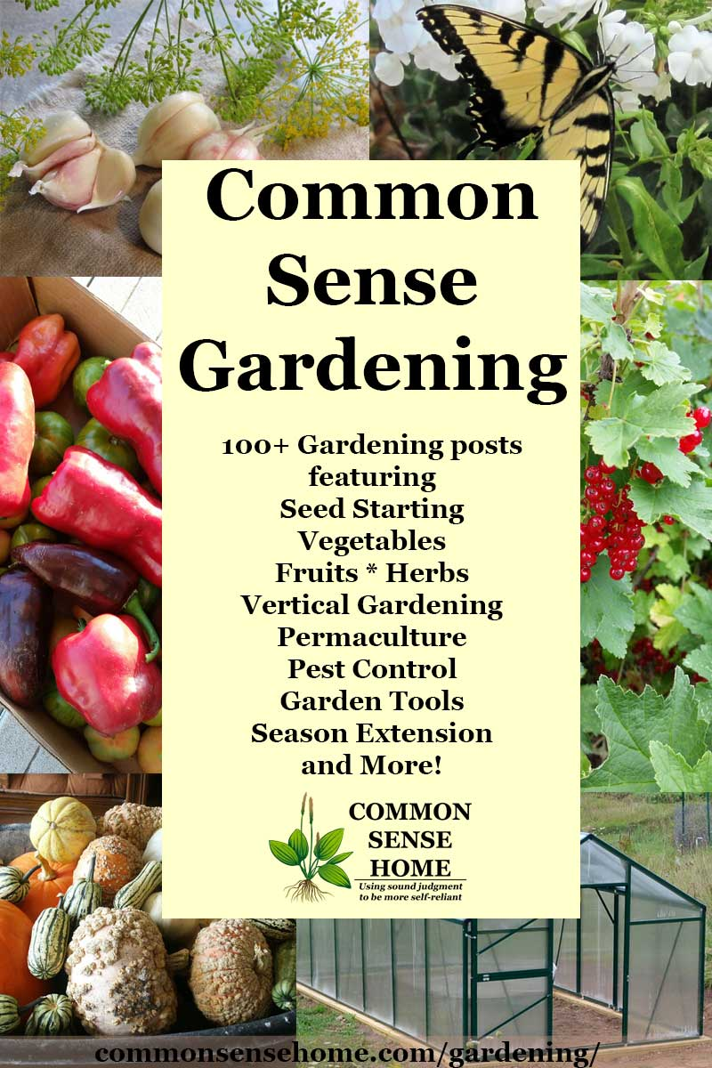 """Common Sense Gardening"" text overlay of garden photos"