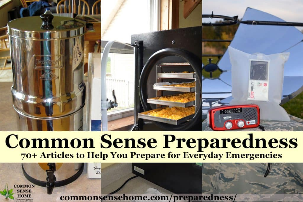 """Common Sense Preparedness "" text overlay over water filter, freeze dryer, emergency radio and solar cooker"