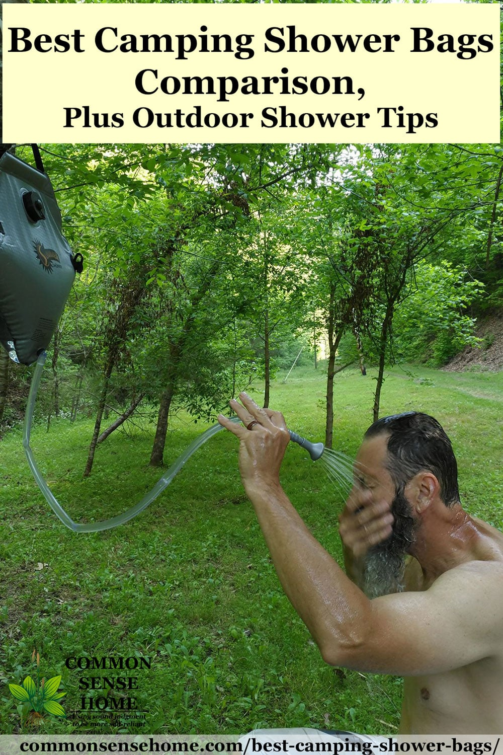 man using outdoor camping shower baf