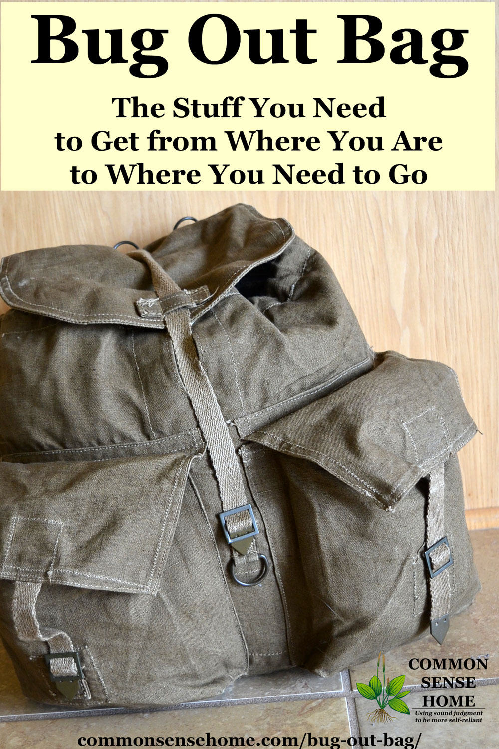 Canvas backpack Bug Out Bag (BOB) or Get Home Bag
