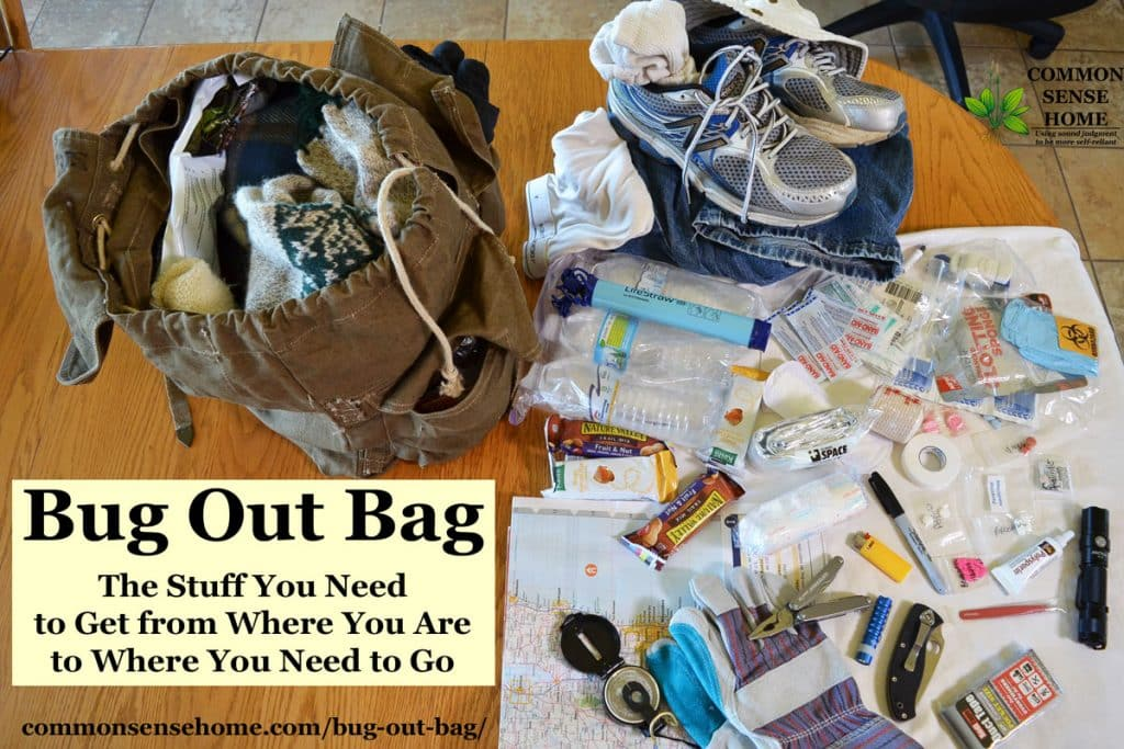 Bug Out Bag and contents spread on table
