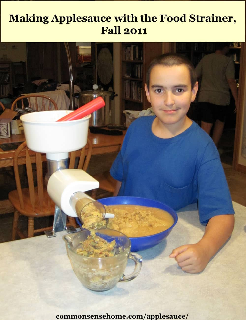boy making homemade applesauce