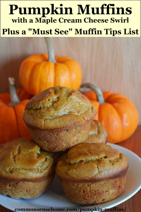 pumpkin muffins on a white plate with mini pumpkins behind