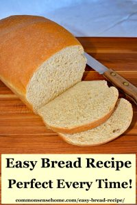easy bread recipe, sliced on a cutting board