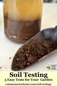 soil in trowel with jar soil test behind