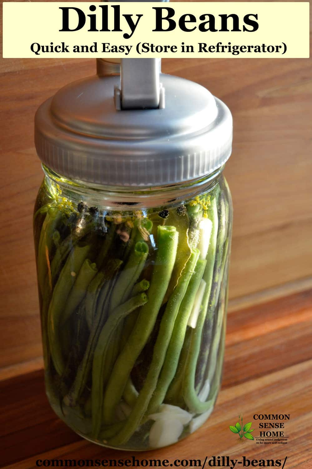 dilly beans in mason jar