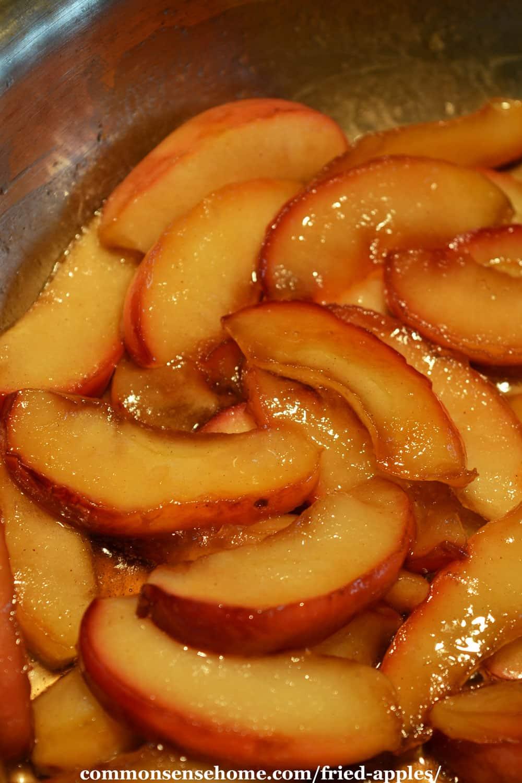 fried apples in skillet