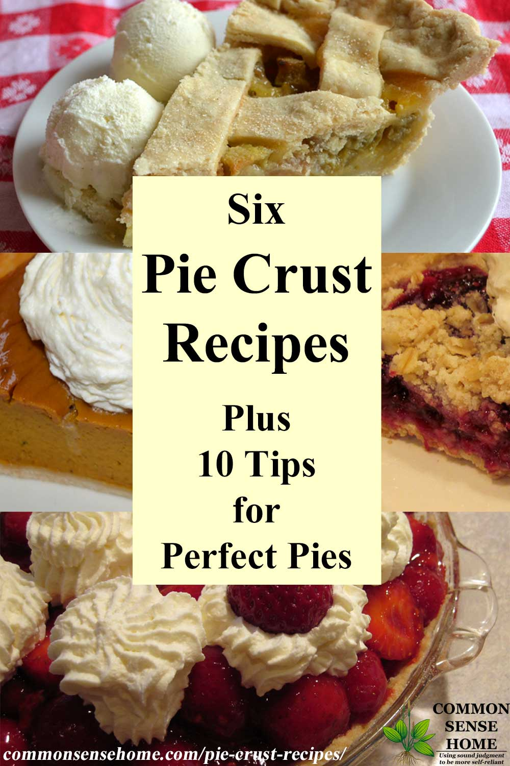 "Text ""6 pie crust recipes plus 10 tips for perfect pies"" surrounded by images of pies"