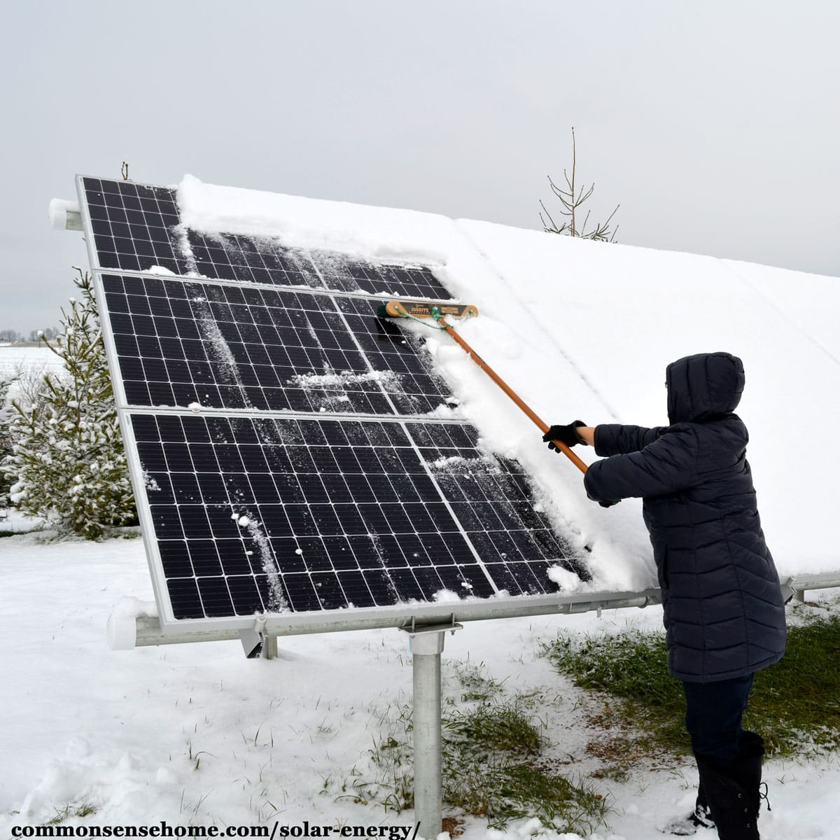 clearing snow from solar panels