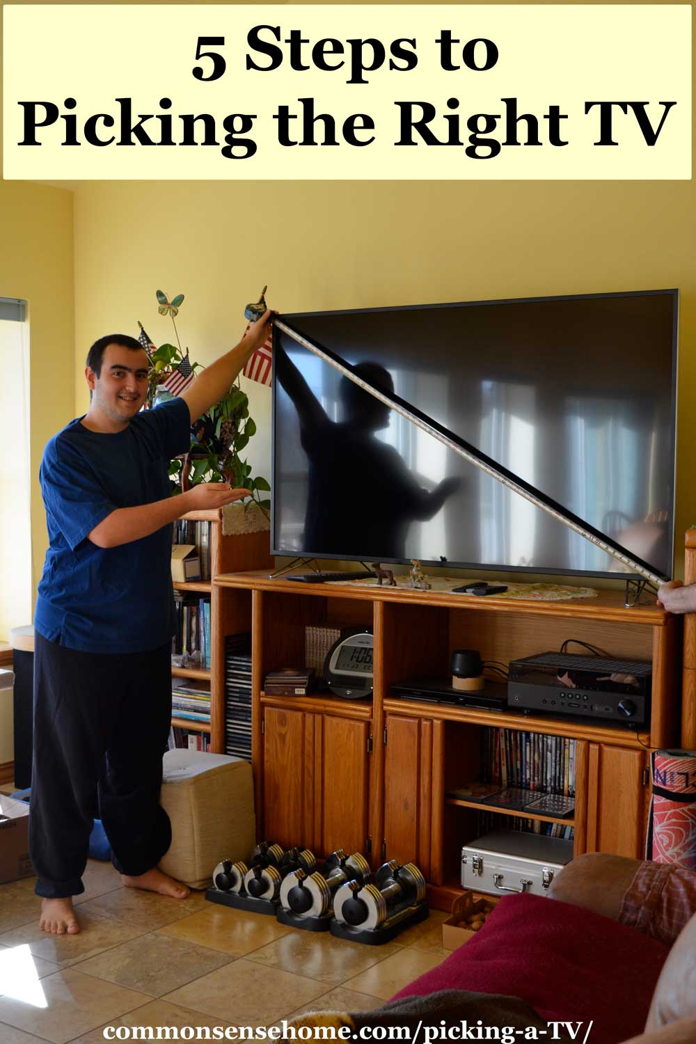 young man pointing at flat screen TV