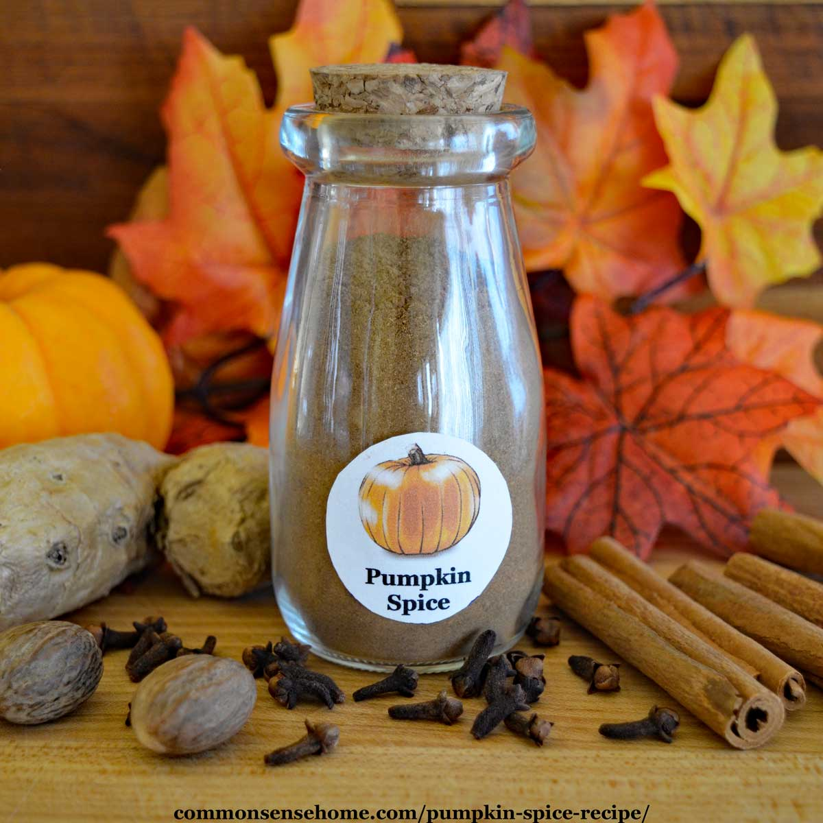 small glass jar of pumpkin pie spice
