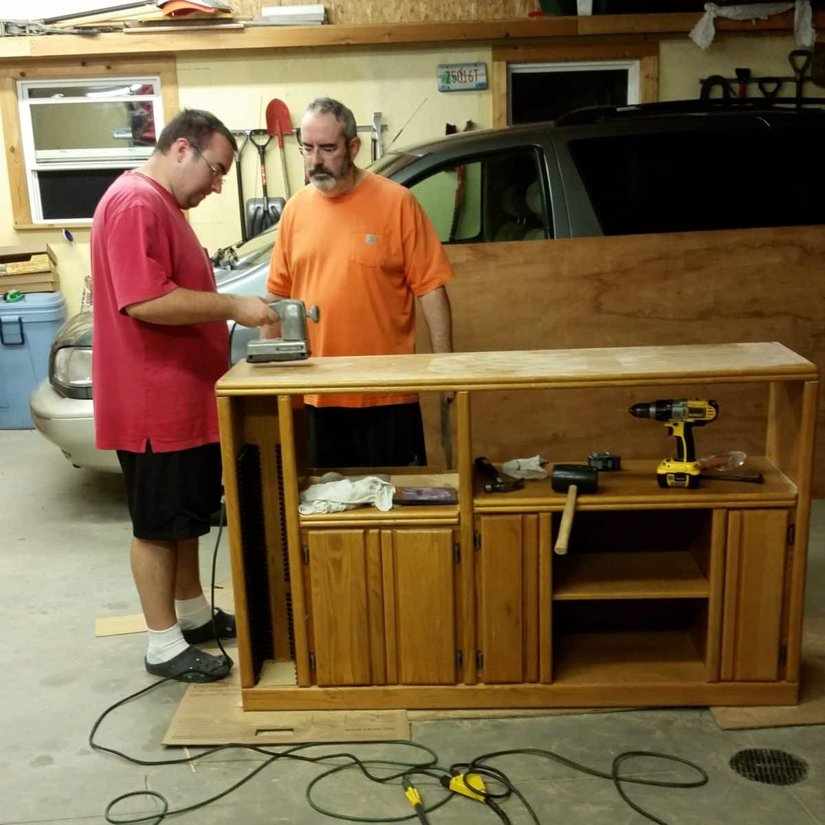 Rebuilding an old TV stand into a table to hold a larger flat screen TV