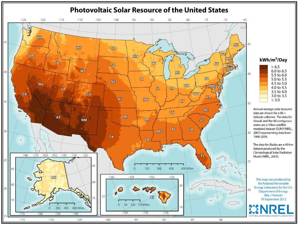 Photovoltaic Resource of the united States map from NREL