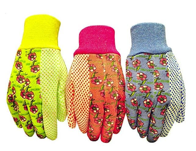 brightly colored garden gloves