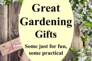 "Text ""15 Great Gardening Gifts. Some just for fun, some practical"" with gifts and apple blossoms in background"