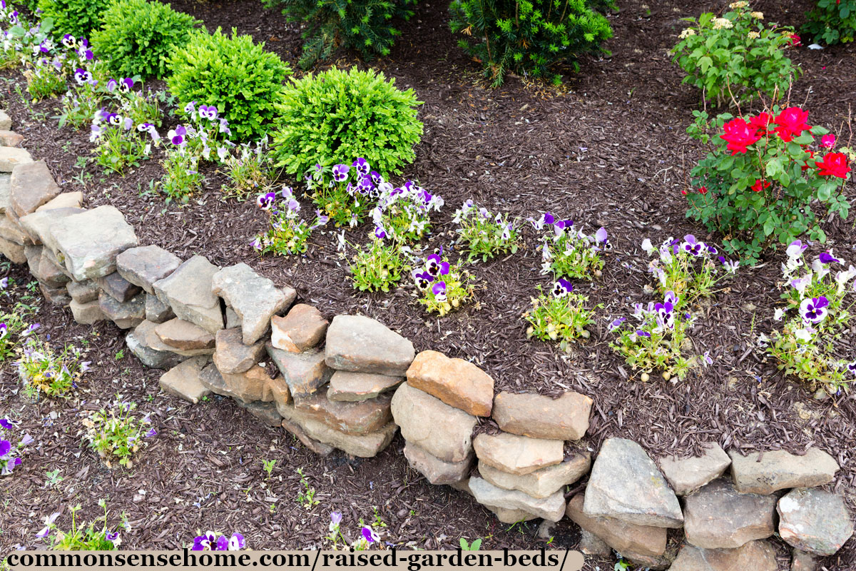 rock wall elevated garden bed