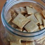 sourdough crackers in mason jar