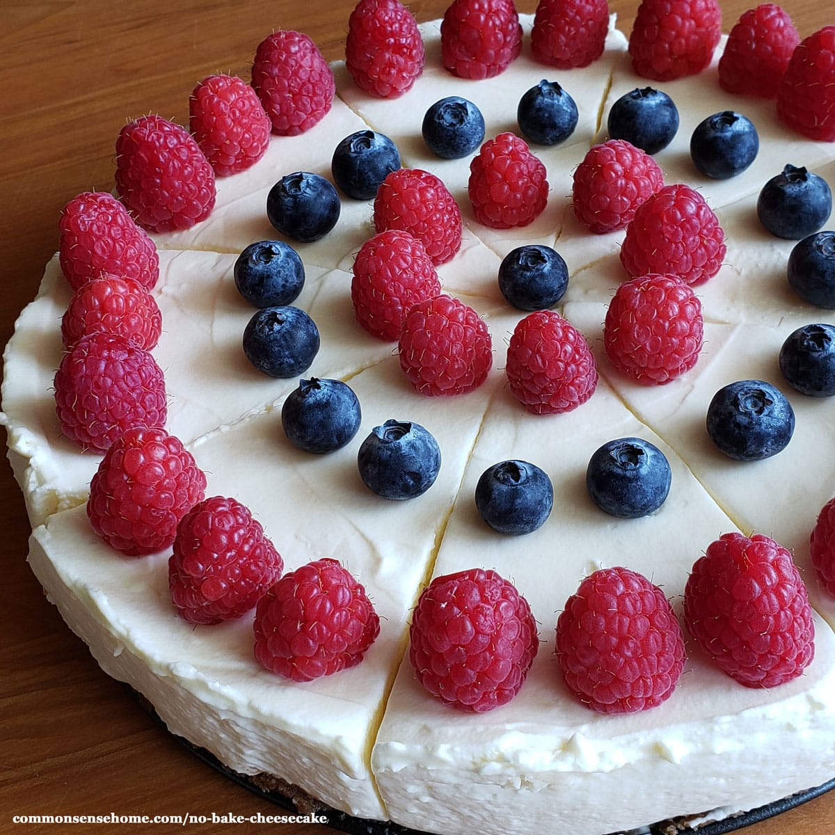 no bake cheesecake topped with berries