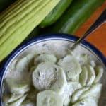 creamy cucumber salad and cucumbers