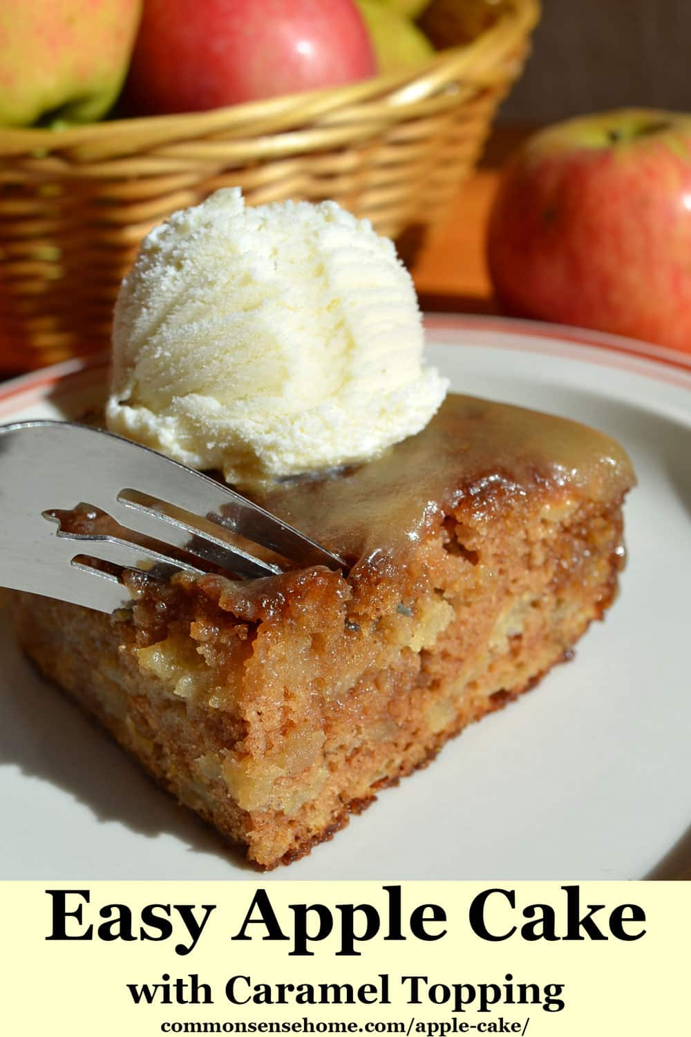 Easy Apple Cake with Caramel Topping