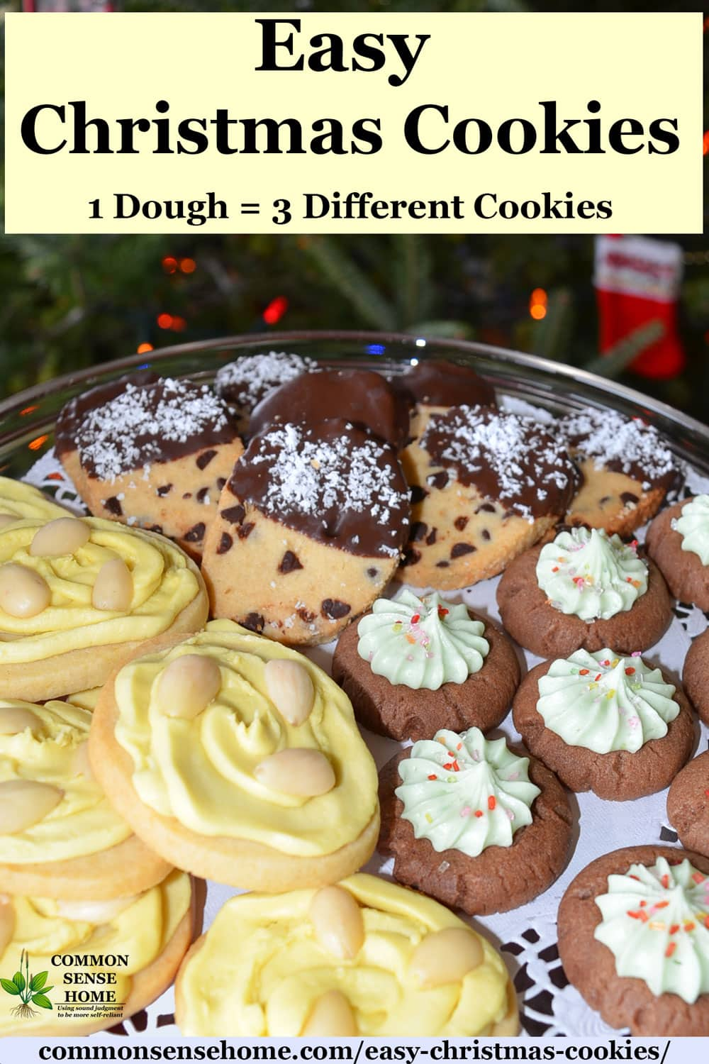 Easy Christmas Cookies - 1 Dough = 3 Different Cookies - lemon, chocolate chip and chocolate mint
