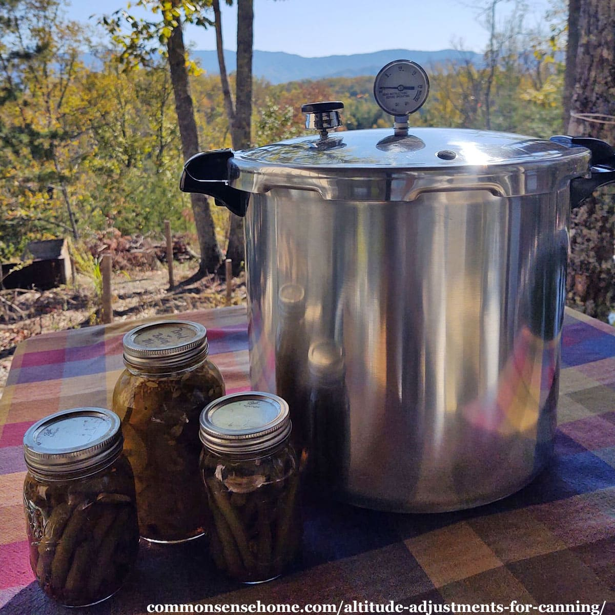 pressure canner with home canned goods against mountain backdrop