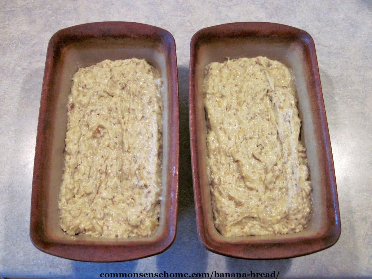 banana bread batter in loaf pans