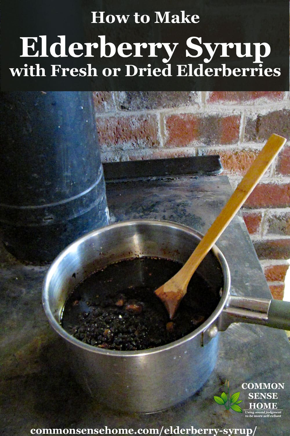 elderberry syrup on top of wood stove