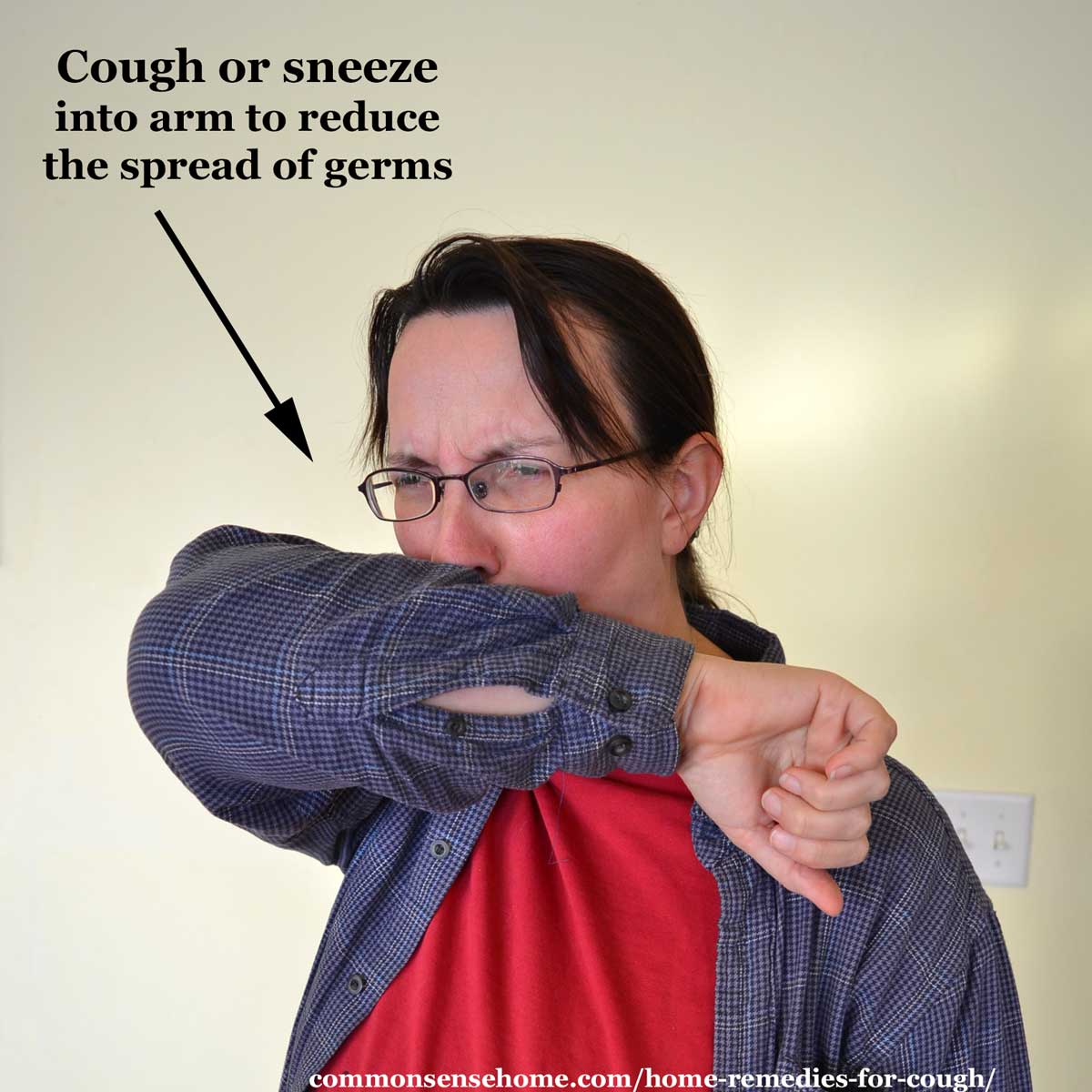 coughing into elbow to reduce the spread of germs