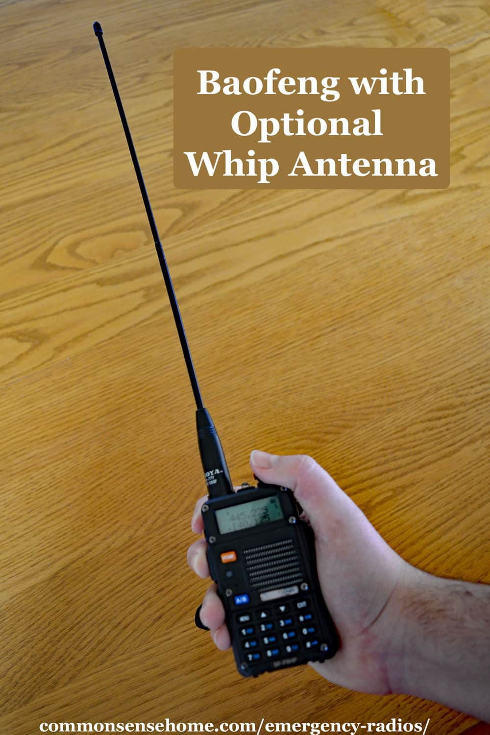 handheld HAM emergency radio with whip antenna