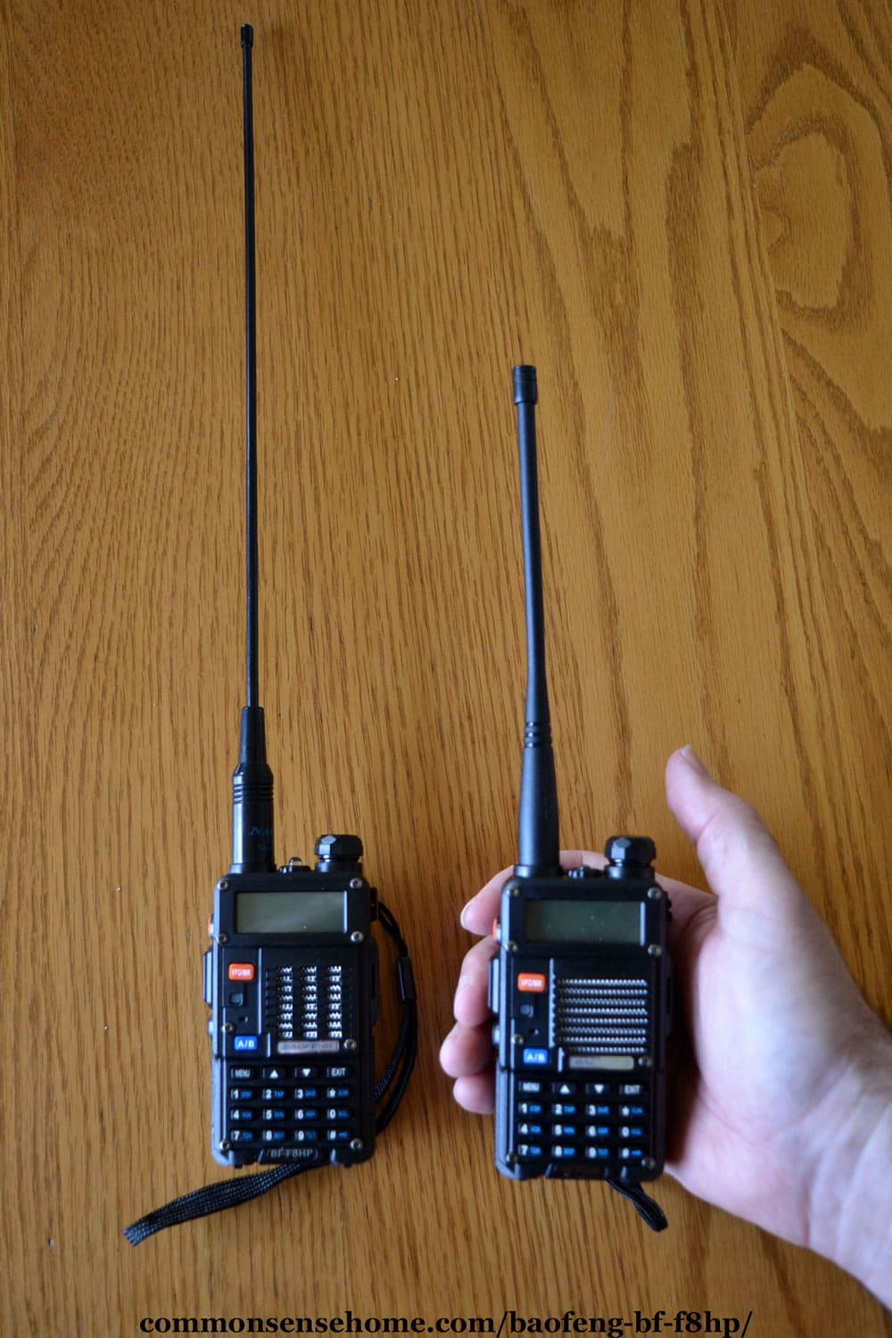 BAOFENG BF-F8HP with and without Nagoya whip antenna