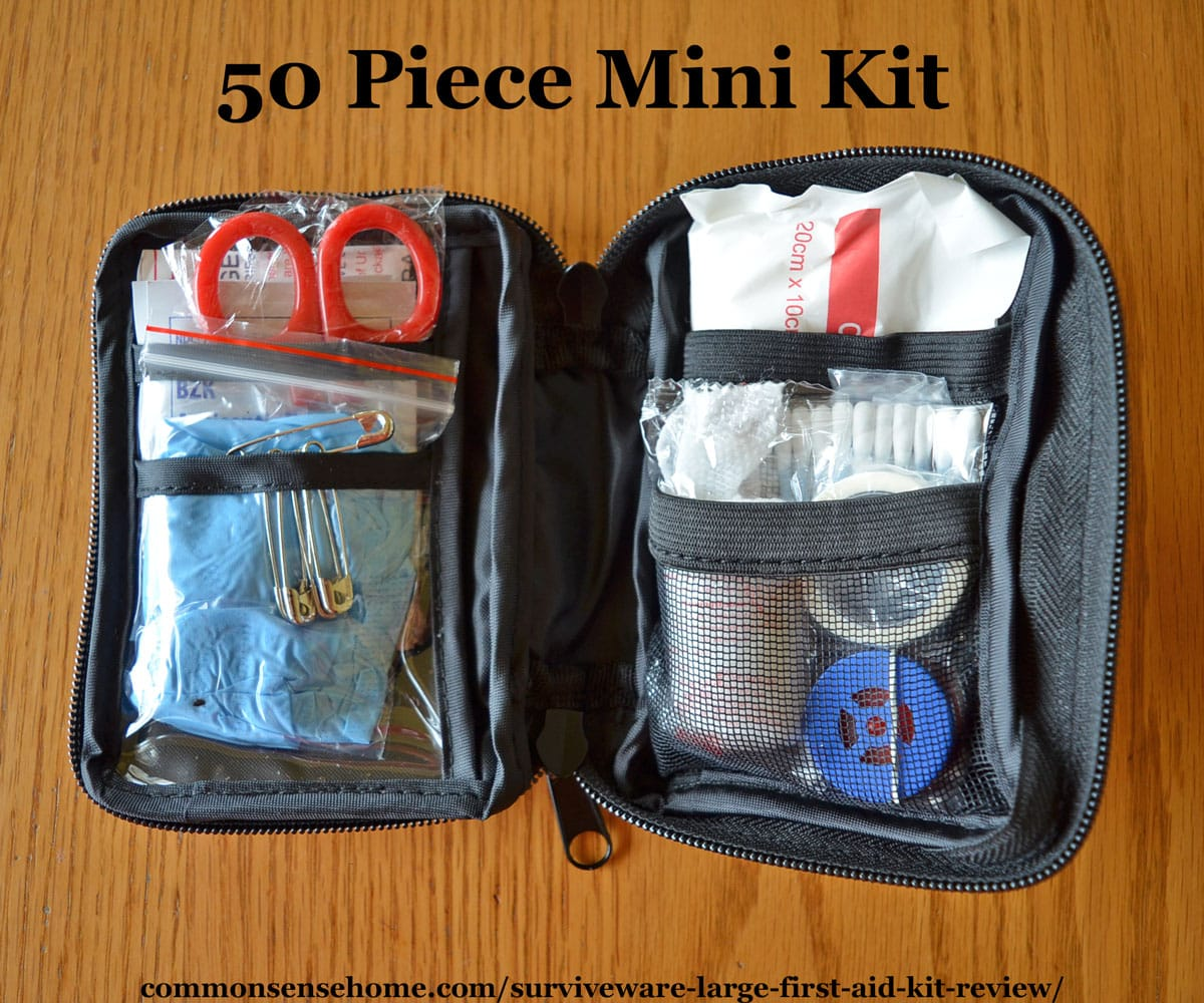 Interior of Surviveware 50 Piece mini kit