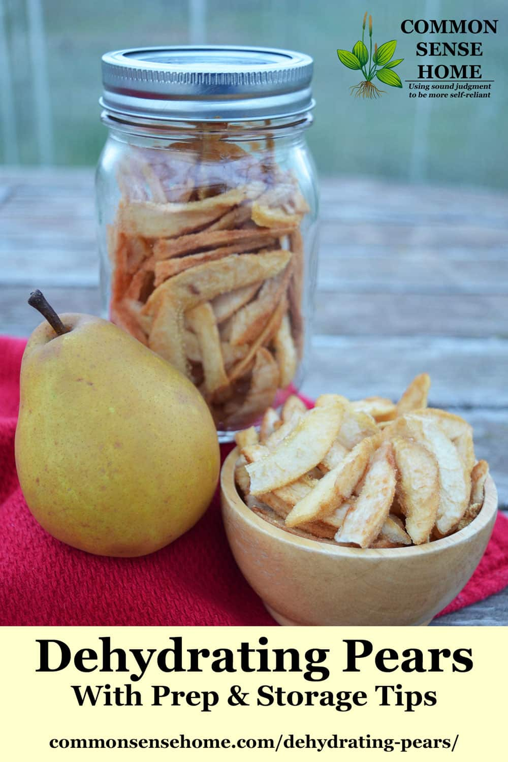 dehydrated pears in mason jar, fresh pear, small bowl of dried pear slices