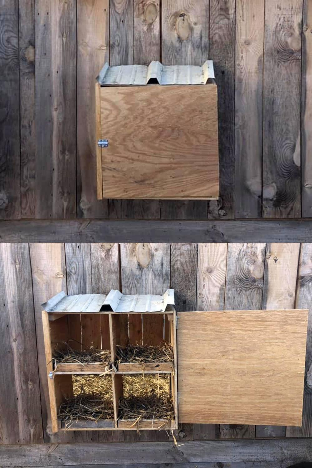 wooden nest box with access from the outside of the coop