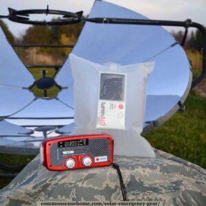 solar emergency gear - radio, luminaid light, solar cooker