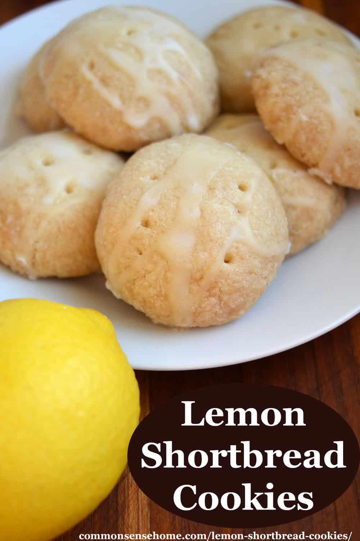 lemon shortbread cookies on white plate