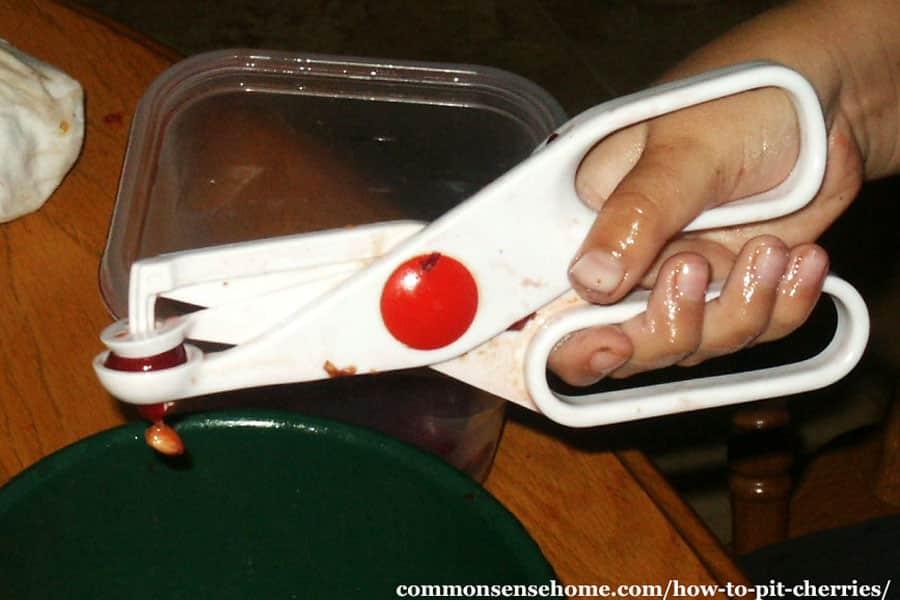scissor style cherry pitter