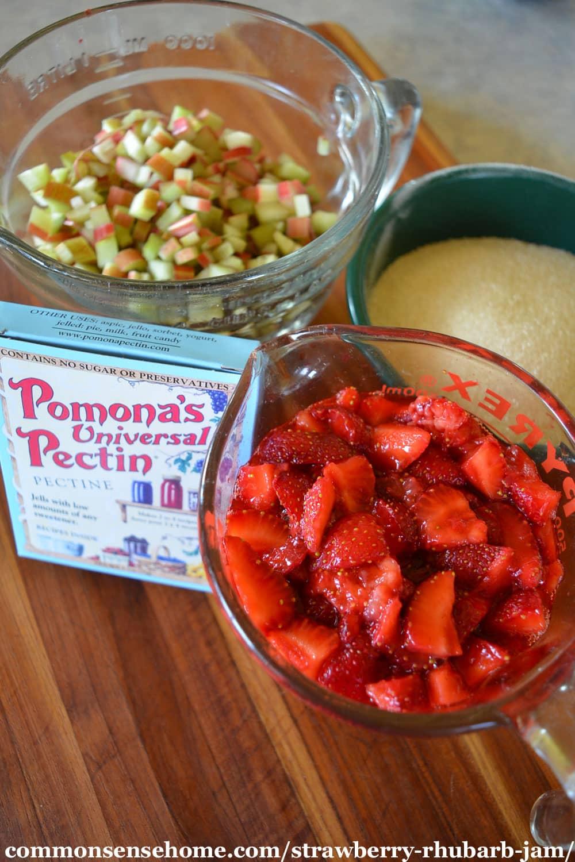 strawberry rhubarb jam ingredients