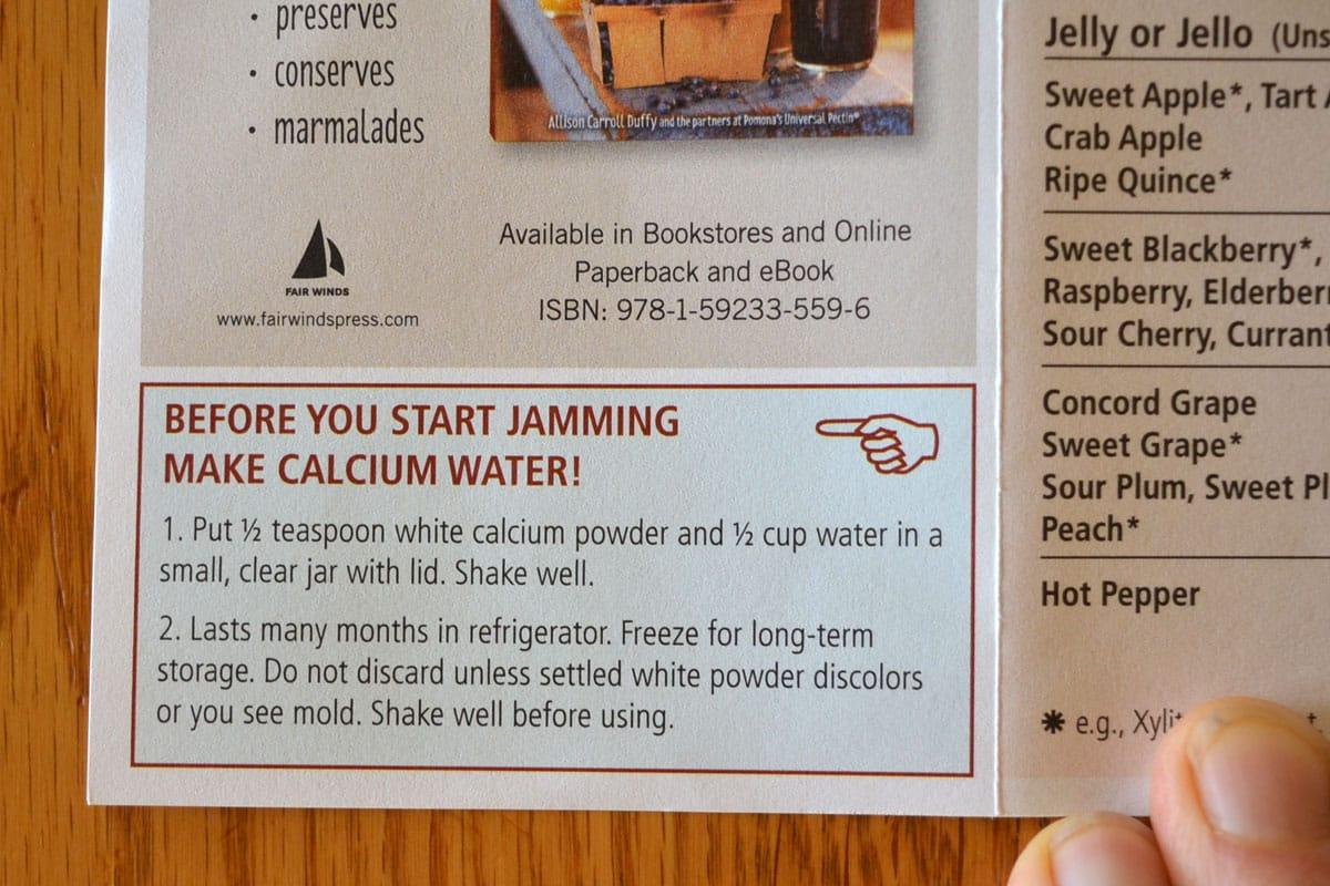 Calcium water instructions