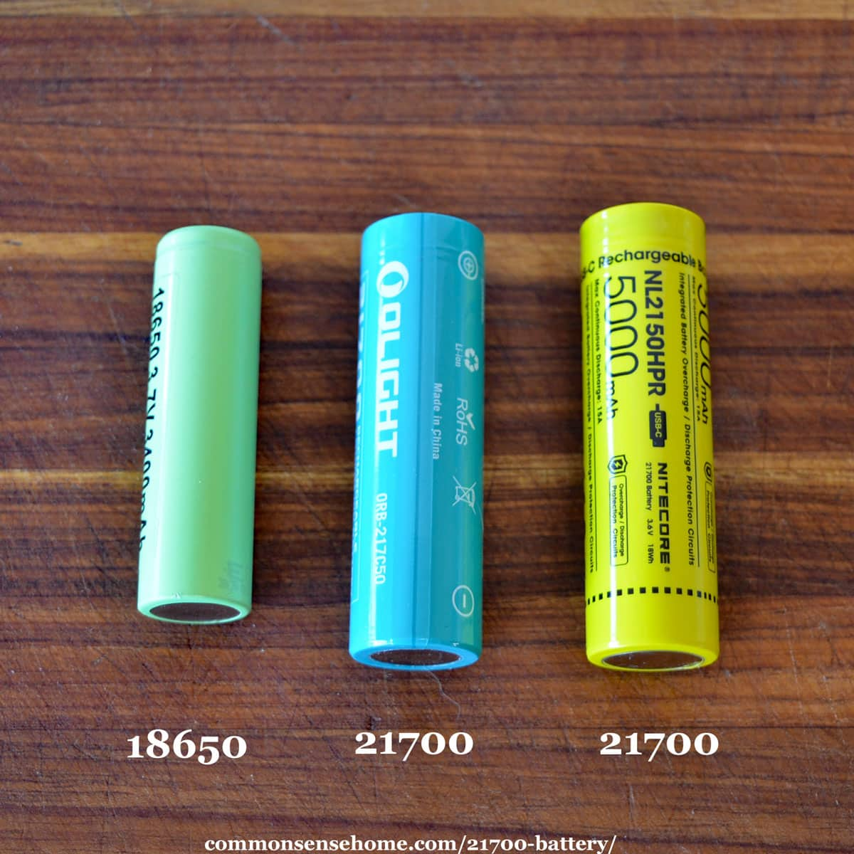 size comparison of 18650 and 21700 batteries